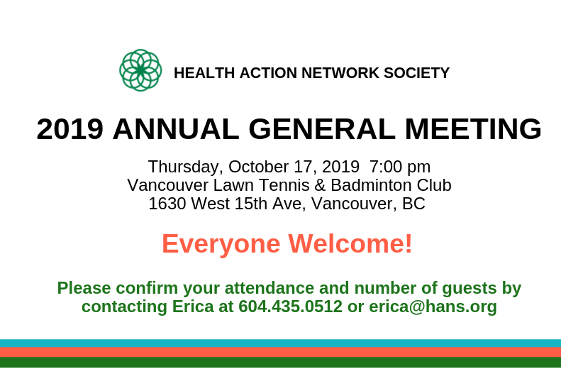 Health Action Network Society Annual General Meeting 2019